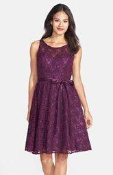 Marina Belted Illusion Yoke Lace Fit & Flare Dress