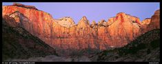 Towers of the Virgin cliffs at dawn. Zion National Park,Part of gallery of color pictures of US National Parks by professional photographer QT Luong, available as prints or for licensing. Us National Parks, Zion National Park, Nationalparks Usa, Panoramic Pictures, Zion Canyon, Park Pictures, Park Around, Colorful Pictures, Towers
