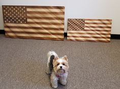 Bailey is excited about our new smaller flag! Small Flags, Corporate Gifts, Wood Art, American Flag, This Is Us, Solid Wood, Hardwood, Things To Sell, Natural Wood