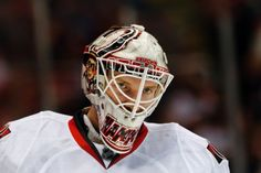 Ottawa Senators goalie Andrew Hammond waits for a face-off against the Detroit Red Wings in the second period of an NHL hockey game in Detroit Tuesday, March 31, 2015. (AP Photo/Paul Sancya)