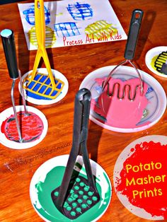 """I love to print and/or paint with unusual """"brushes."""" Today's """"brush"""" of choice were my collection of mashers. I have a small collection (6 or 7) different manual potato mashers. It is fun to compare the different prints that they make. Some of them look kind of like bee hives. Some of them are round …"""