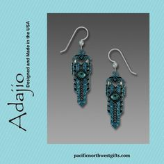 Adajio Earrings - Hinged Art Deco in Teal with Faceted Glass Cabochon