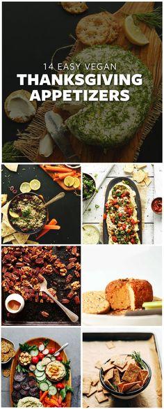 14 Easy Vegan Thanksgiving appetizers! #vegan #glutenfree #thanksgiving