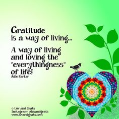 Gratitude is a way of living... a way of living and loving the 'everythingness' of life! Julie Parker