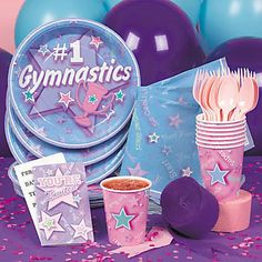 Gymnastics+Party+Plates | Party Supplies Sale 6th Birthday Parties, 8th Birthday, Birthday Ideas, Birthday Stuff, Gymnastics Birthday, Party Plates, Party Time, Party Supplies, Party Ideas