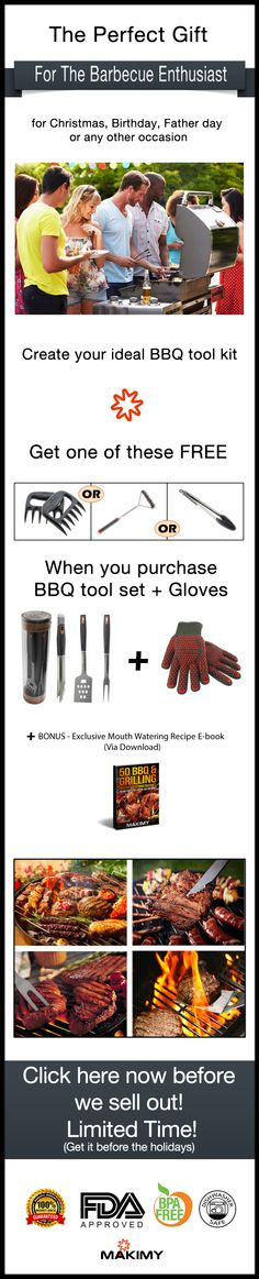 The perfect gift for the Barbecue enthusiast - for Christmas, Birthday, Father day or any other occasion. Get FREE tool for your ideal BBQ tool kit. Bbq Tool Set, Bbq Accessories, Christmas Birthday, Tool Kit, Kitchen Tools, Ribs, Meat Recipes, Barbecue, Grilling