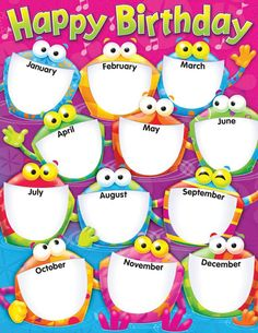 6 Best Images of Happy Birthday Printable Chart - Printable Birthday Chart Template, Classroom Birthday Chart and Preschool Birthday Chart Printable Birthday Calendar Classroom, Birthday Bulletin Boards, Owl Theme Classroom, Classroom Charts, Classroom Posters, Classroom Displays, Classroom Icebreakers, Happy Birthday Frog, Happy Birthday Printable