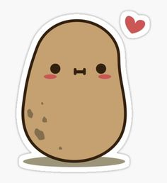 Cute Potato in love Sticker Cute Potato, Kawaii Potato, Cute Food Drawings, Doodle Drawings, Kawaii Stickers, Love Stickers, Potato Drawing, Annoying Friends, Laptop Decal Stickers
