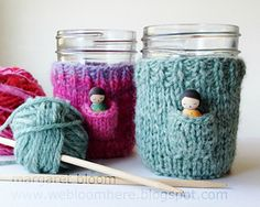A small mason-jar cozy with a pocket for a wee fairy companion…