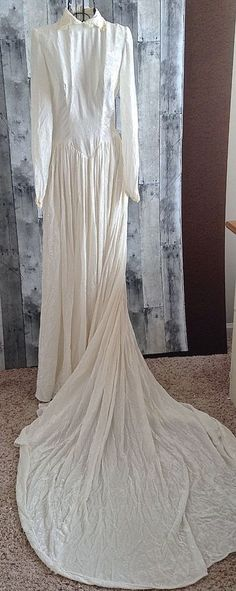 Vintage 1940s 50s Marie Of Pandora Crushed Velvet Lace Wedding Bridal Gown Dress