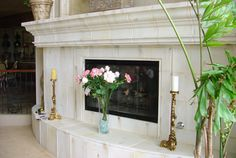 Custom Fireplace Surround, Mantel & Hearth by Realm of Design Las Vegas, Los Angeles Custom Fireplace, Kitchen Hoods, Fireplace Accessories, Fireplace Surrounds, Mantels, Architectural Elements, Hearth, Beams, Las Vegas