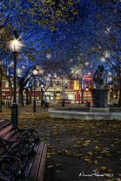 Sloane Square in West London sparkles each year with Christmas lights. It stands at the end of the King's Road which was a center for hippie and punk counterculture in the 60s and 70s. The street has since been gentrified and is a high street shopping area. Quick fact: King's Road is where the first UK Starbucks opened in 1999. London England, England Uk, Beautiful World, Beautiful Places, London Christmas, England Christmas, Christmas 2014, England And Scotland, London City