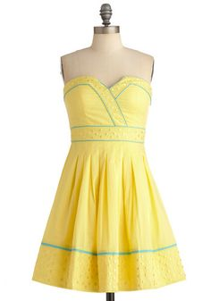 Banana Bubble Tea Dress - pretty sure I need this. Pretty Summer Dresses, Cute Dresses, Cute Outfits, Yellow Sundress, Retro Vintage Dresses, Mellow Yellow, Blue Yellow, Teal, Up Girl