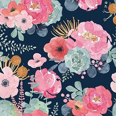 HaokHome Peel and Stick Modern Floral Wallpaper Pink/Green/Navy Blue/Orange Vinyl Self Adhesive Prepasted Contact Paper Decorative Watercolor Wallpaper, Pink Wallpaper, Peel And Stick Wallpaper, Pattern Wallpaper, Floral Watercolor, Prepasted Wallpaper, Adhesive Wallpaper, Blue Orange, Pink And Green