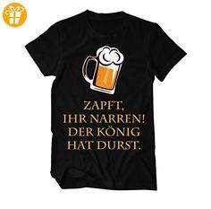 Zapft Ihr Narren, der König hat Durst Fun T-Shirt Herren XXX-Large Schwarz (*Partner-Link)
