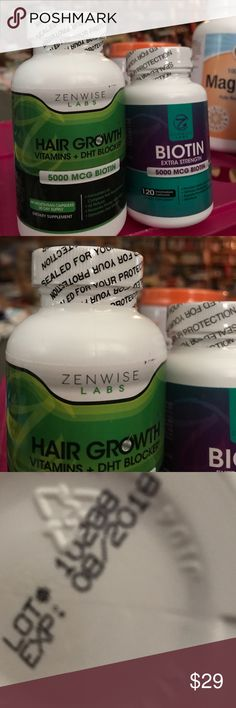 Zenwise vegetarian hair vitamins supplements 2 vitamin supplement sealed bottles from Zenwise labs for better hair growth. The hair growth vitamins plus DHT blocker with 5000 MCG of biotin also has vitamins A C D3 E B1 Niacin B6 Folate B12 Biotin pantotheric acid iodine and zinc. bottle has 60 vegetarian capsules for a 30 day supply formulated for hair nourishment all natural for fuller hair. The other bottle is extra strength Biotin 5000 MCG 120 vegetarian capsules.expires 08/2018 ZENWISE…