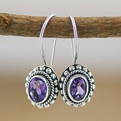 Sterling Silver Amethyst Oval Earrings (Indonesia) | Overstock.com Shopping - Great Deals on Earrings