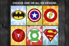 8x10 PRINTS Superhero Logo Wall Art Decor Nursery Boys Room - Superman Green Lantern Flash Batman Captain America Spiderman