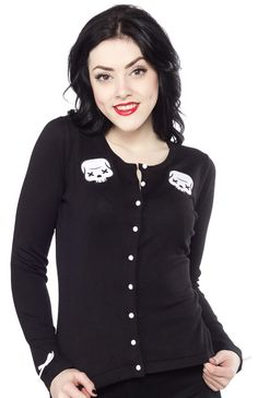 SOURPUSS PARTY SKULL CARDIGAN How about a nice little update to your basic skull cardigan? The Party Skull Cardigan is just what you need! You can never have enough black cardigans (in my humble opinion), so do yourself a favor and add this one to the collection! Once you slip it on and feel the soft, cozy goodness, you'll be glad you did! $46.00 #sourpuss #sourpussclothing #cardigan #skull #pinup #rockabilly #psychobilly