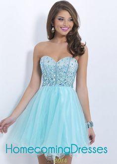 Crystal Beaded Aqua Short Sweetheart Ruffled Prom Dress 2015