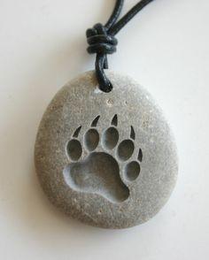 Bear Paw Engraved Grey River Rock Paw Print Stone by MonkeysJewels