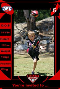 Our little man turned five last week, five! As MJ is a keen Essendon fan we had a Bombers themed footy party - black and red as. Birthday Party Invitations, Birthday Party Themes, Happy 5th Birthday, Chocolate Dipped Strawberries, Youre Invited, Little Man, How To Make Cake, Hot Dogs, Football