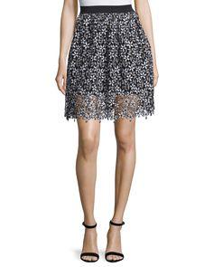 Daisy Lace A-Line Skirt, Black/White, Women's, Size: 10 - Self Portrait