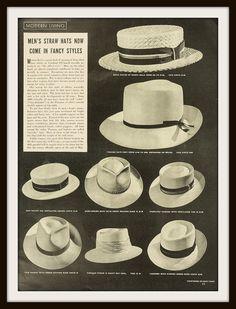 0bbadd660b4 1939 Straw Hats Advertisement. Vintage hats ad. Vintage fashion ad. Vintage  Clothing ad. Vintage men s fashion ad