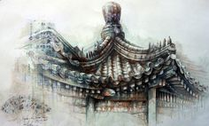 Paintings Gallery - Ian Murphy Artist 'The Pagoda in the summer palace' Landscape Concept, Urban Landscape, Art And Architecture, Architecture Details, Decay Art, Close Up Art, Art Alevel, A Level Art, Level 3