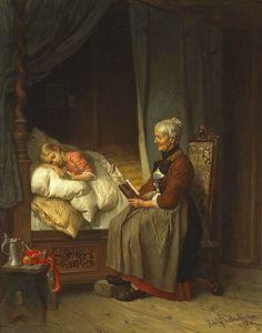 Grandmothers bedtime story Paintings | Adolf Eberle paintings bed times history paintings - Pesquisa Google