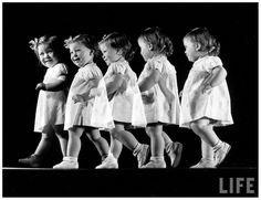 Stroboscopic image of little girl walking & smiling at camera 1941 by Gjon Mili