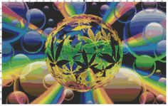 Weed Bubbles Fantasy Cross Stitch Printable Needlework Pattern - DIY Crossstitch Chart, Relaxing Hobby, Instant Download PDF Design