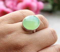 Sea foam green ring - Chalcedony Ring - oval ring - Bezel set ring - Gemstone ring -  Gifts by Studio1980 on Etsy https://www.etsy.com/listing/163869128/sea-foam-green-ring-chalcedony-ring-oval