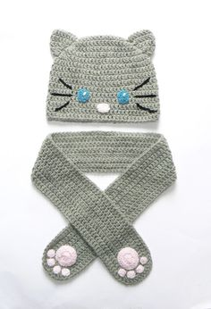 Crochet Cat Hat and Scarf for Girls, Fall hat, Beanie,  Kids Accessories, Gray Cat Hat, Kitty Kitten Hat, Animal Hat, 20-21""