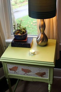 mod podge book pages to drawers!