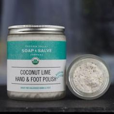 Nourishing oils and butters, whipped with a medley of sugars, honey and dead sea salt moisturize and soften hardworking hands and feet! Cracked Feet, Feet Care, The Balm, Healthy Living, Moisturizer, Essential Oils, Lime, Coconut, Soap