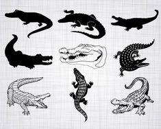 Alligator Tattoo, Crocodile Cartoon, Crocodile Skin, Krokodil Tattoo, Patterned Paint Rollers, Silhouette Tattoos, Clipart, Small Tattoos, Illustration Art
