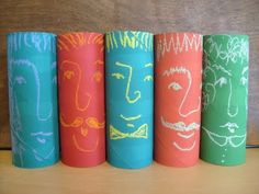 Painted Toilet Paper Tube Chalk Portraits~Thinking might work in the block center
