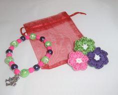 broche flor crochet y pulsera a juego
