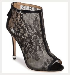 black lace peep toe booties