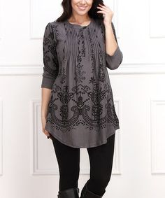 Charcoal & Black Ornate Floral Notch Neck Tunic - Plus