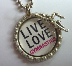 Gymnastics charm bottle cap bag tag, zipper pull or necklace. $4.00, via Etsy.