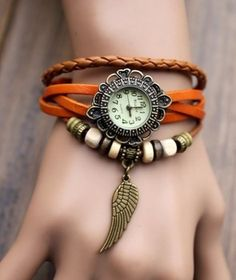 alas relojes de pulsera pulsera de reloj de la vendimia las mujeres de la alta calidad del envío libre del cuero genuino $0.98 relojes de pulsera - yyw