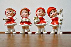 Vintage Napcoware Christmas Figurines Singing  Ice Skates Skis Accordion Book Carolers Pixie Elves.