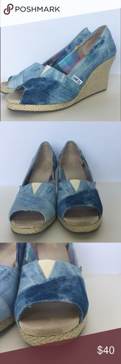 "TOMS blue denim tie dye wedges Gently used condition TOMS blue denim tie dye wedges size 6.5. They have minimal signs of wear as pictured. The wedge height is 3.5"". Toms Shoes Wedges"