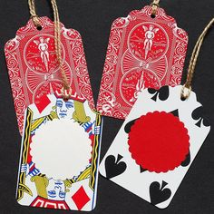 recycled gift tags black playing card tags par TanithsOddsAndEnds, $5,00