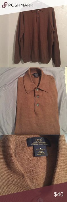 Brooks brothers brown pullover sweater size large Great condition. Extra fine Italian 100% merino wool. Extra button inside. Long sleeve light weight stretchy sweatshirt. Brooks Brothers Sweaters