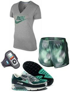 Women's fashion green nike gym outfit