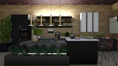Dream Kitchen - Kitchen - by JarkaK Laguiole Steak Knives, Knife And Fork, Wall Bar, Cutlery Set, Bathroom Wall, Kitchen Design, Sketches, Mirror, Interior