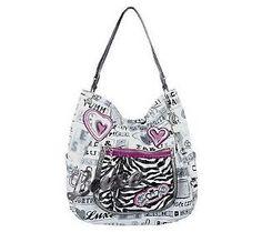 Kathy Van Zeeland Coated Canvas Novelty Hobo bag.